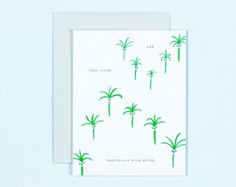 Wedding Congratulations Card - Tropical Wedding Card - Palm Tree Anniversary Card - Destination Wedding - Happily Ever After Tropical Print