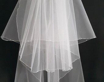 White Wedding Veil, Three Layers, Swarovski Crystals