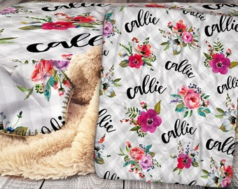 Personalized Blanket - Sherpa Throw Blanket -  Floral Bouquet Blanket - Flower Blanket - Personalized Name Blanket - Baby Blanket - Sherpa