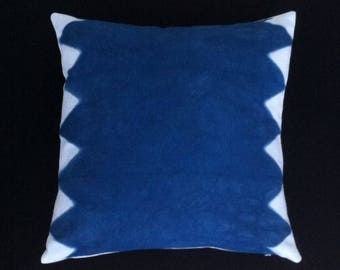 "Shibori indigo dyed cotton pillow cover 16"" x 16"""