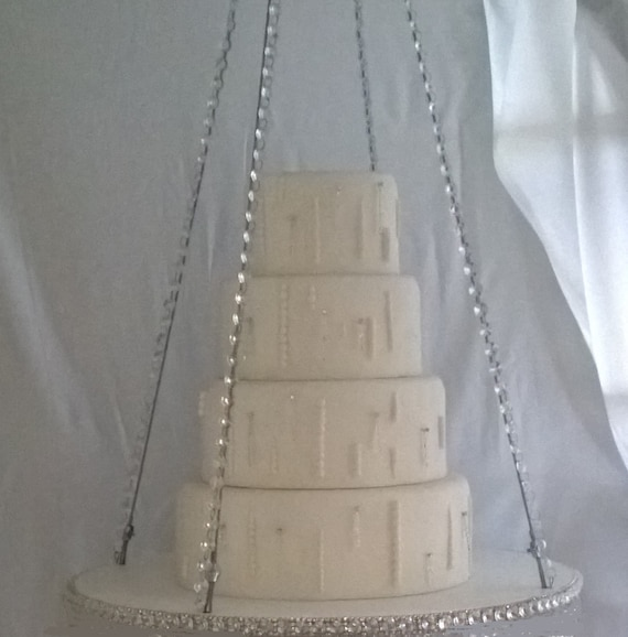 Suspended Swing Cake Stand Swarovski Crystals Edging