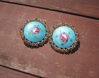 Vintage Blue Guilloche Enamel Clip Earrings with Pink Rose