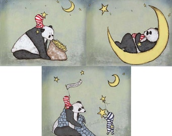 Panda Bear Themed Nursery Art Print Set of Three Boy's Nursery Art Panda and Moon Art New Baby Boy Nursery Art
