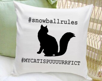 Personalized Cat Throw Pillow -  Cat Silhouette Throw Pillow -  Cat Lover Gifts -  GC1322 HASHTAG