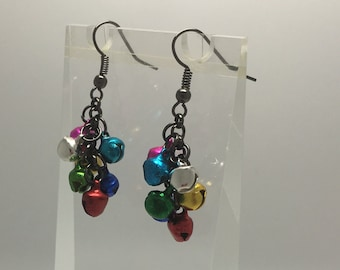 Christmas Jingle bells earrings, pendant charms made from tiny bells that jingle. Multi coloured