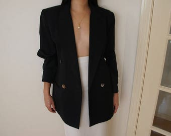 vintage JUMP black wool blend double breasted blazer, size 10