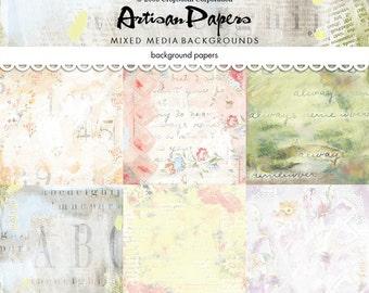 "Digital scrapbook paper / mixed media backgrounds / printable paper / pastel, florals / altered art / mixed media collage / 12"" x 12"""