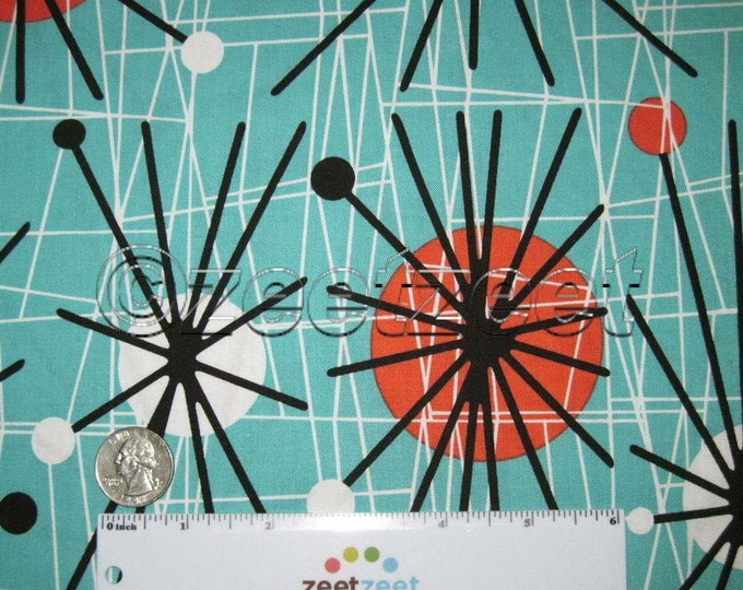 FQ Michael Miller ATOMIC Aqua Black Sprockets Cotton Quilt Fabric - by the Fat Quarter Fq Mid-century Modern