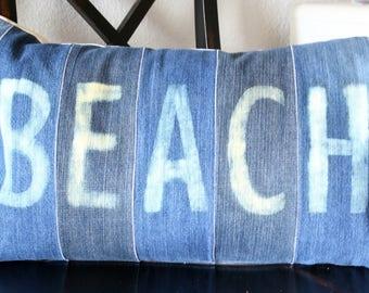 "Denim ""BEACH"" Pillow Cover"