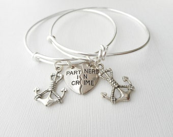 2 Partners in Crime, Anchor- Best Friend Bracelets/ In crime jewelry, in crime bracelet, bff jewelry, bff, gift ideas, bff gift, Sister gift