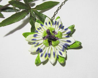 Passionflower ceramic necklace pendant handcrafted Passionflower