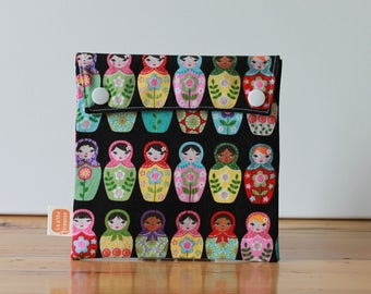 Reusable sandwich bag, reusable snack bag, fabric bag with Russian dolls print [#34], eco friendly, no waste lunch box, ProCare, washable