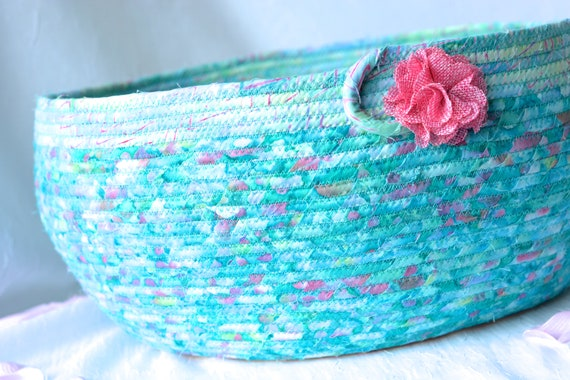 Aquamarine Cat Bed, Handmade Coiled Fabric Basket, Modern Pet Bed, Aqua Clothesline Basket,  Beautiful Batik Home Decor