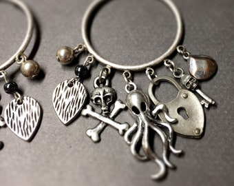 Steampunk hoops-Pirate hoop earrings-lock key-wear with gauges-hoop with charms-Steampunk earrings-Octopus-Kraken-HP Lovecraft-Pirate wench