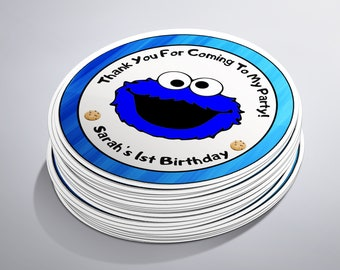 Cookie Monster Sticker, Sesame Street, Cookie Monster Party, Cookie Monster Theme, Cookie Monster Decor, Cookie Monster Label, Cookie Favor