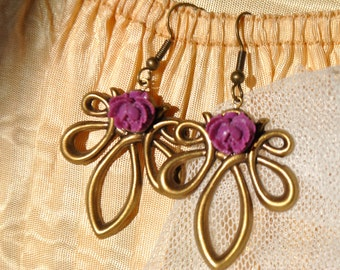 lilac rose lavalier earrings