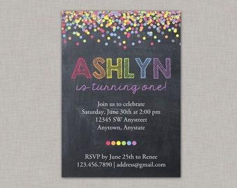 Confetti Birthday Invitation, Rainbow Invitation, Chalkboard Birthday Invitation