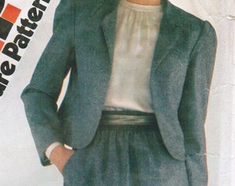 1980s Simplicity 5693 Vintage Sewing Pattern Misses Skirt and Short Lined Jacket, Suit Size 10 - 12 - 14