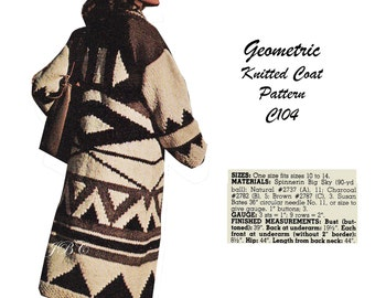 Geometric Knitted Coat Pattern Coat Knitting Pattern Vintage 70s Chunky Long Wrap Sweater Southwestern PDF C104