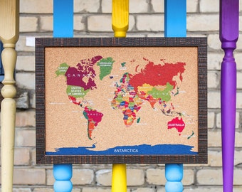 "Cork World Map Travel push pin board corkboard S bulletin memo notice message photo note framed color white small 18 x 13"" (45,5 x 33cm)"