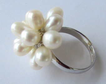 White Fresh Water Pearl Silver Ring Finger