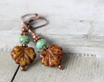 Womens Leaf Earrings