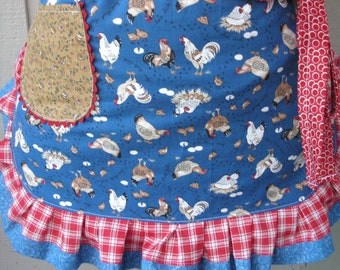 Womens Aprons - Blue Aprons with Chickens - Farm Girl Half Aprons - Chicken Fabric Aprons - Red Pokadotted Aprons - Annies Attic Aprons