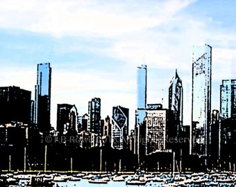 Chicago, Chicago Art Print, View of Chicago, Fine Art Print, City Art, Landscape Art, Cityscape, Free Shipping, Chicago Print, City Prints