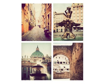 Rome photographs, set of 4, discounted print set, Italy art, Rome decor, Rome photography, Italy pictures