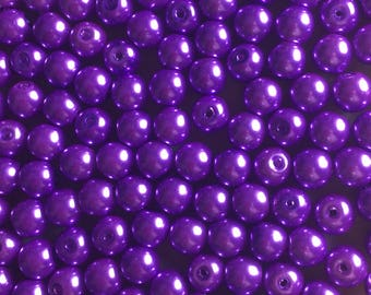 30 x 8mm purple glass pearl beads