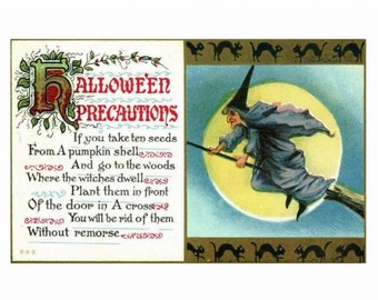 Halloween Precautions Black Witch REPRO Vintage Postcard R999291