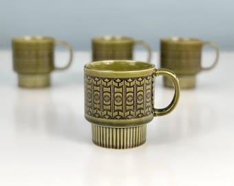 Vintage Mid Century Modern Design Stackable Coffee Mugs Made in Japan, Moss Green Mod Scandinavian Design, Boho Chic