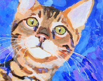 Bengal Cat Art Print of Original Acrylic Painting - 8x10