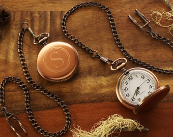 Engraved Pocket Watch Copper - Personalized Groomsmen Gifts - Engraved Wedding Date - Anniversary Gift For Men - Copper Gift For Him
