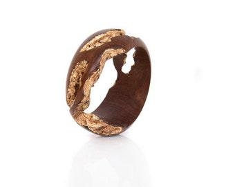 Wood Bracelet with Gold Leaf – Regal Gold