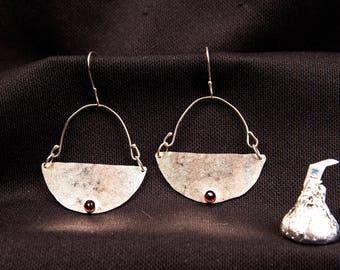 silver dangle earrings half-moon with garnet