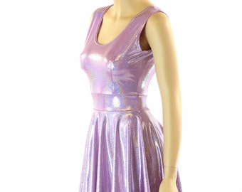 Lilac Holographic Scoop Neck Sleeveless Fit and Flare Skater Skate Dress 151882