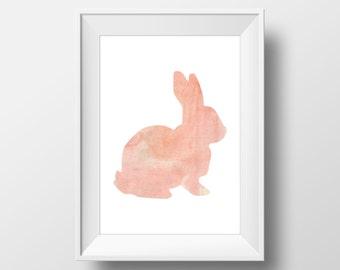 Pink Watercolor Rabbit Print, Rabbit Print, Rabbit Wall Art, Watercolor Rabbit, Printable Rabbit Art, Rabbit Decor, Animal Nursery Decor