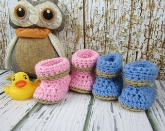 Baby Booties, Crochet Baby booties, Newborn 0-3 month 3-6 month 6-9 month 9-12 month booties blue boy booties pink girl booties free sh