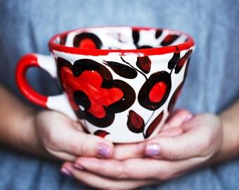 Ceramic cup Red and black Pottery mug Tea cup Flower mug Coffee Mugs pottery mug Easter gift Ceramic mug Colorful mug Pottery cup