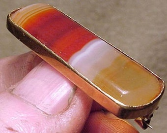 14k Victorian Banded Carnelian Agate Brooch Pin 1880s 14 K Gold