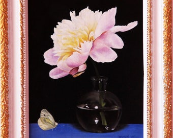 Peony flower with butterfly, original oil painting
