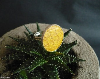 Yellow salmon leather ring, salmon leather ring, fish skin ring, cocktail ring, gift for her, beach party fashion ring, boho ring