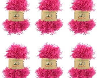 BambooMN Brand - Eyelash Yarn - 50g - 6 Skeins - Color 40 - Rosewood
