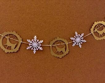 Christmas  garland, paper garland, Reindeer garland, Holiday garland, snowflake and Reindeer garland