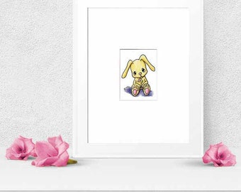Yittle Bunny Rabbit ACEO Original Art Illustration Ebsq