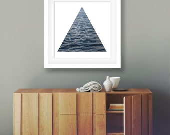 Geomertric art fine art photography lake water photo water ripples blue bathroom decor triangle art blue and white home decor wall art