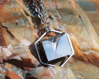 Pyrite geometric necklace