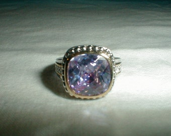 premier designs cz ring sz.9 ring lavender cz ring two tone ring cable ring sparkling statement ring premier designs jewelry