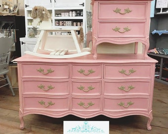 SALE: FRENCH PROVINCIAL Dresser in Gorgeous Pink, Dresser and Nightstand, Girls Bedroom, Nursery Furniture